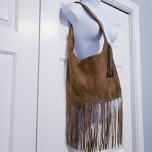 Handbags - Boho Brown Suede Hobo Shoulder Bag With Fringe